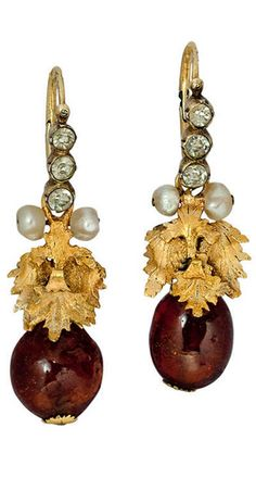 Russian 18th Century Amber Earrings  circa 1780