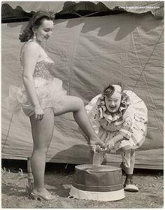 Circus girl and clown