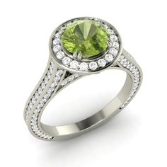 Natural Peridot & SI Diamond Halo Engagement Wedding Ring 14k White Gold 1.74Ct | eBay