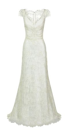 Karen Willis Holmes // wedding dress // V-neck corded lace slim line bridal gown with lace cap sleeves and sheer lace back. // Rachel