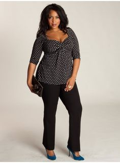 Plus Size Clothing | Polka Dot Top | Curvy Fashion at www.curvaliciousclothes.com ♥