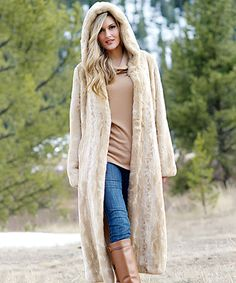 Love this Blonde Mink Faux Fur Hooded Couture Coat - Plus Too on #zulily! #zulilyfinds