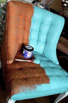 How To Paint Fabric - FAB Fabric Primer & Sealer - Refunk My Junk Refurbished Furniture, Repurposed Furniture, Furniture Makeover, Furniture Projects, Diy Furniture, How To Paint Furniture, Funky Painted Furniture, House Furniture, Furniture Design