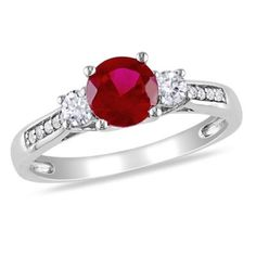Ruby, white sapphire & diamond engagement ring