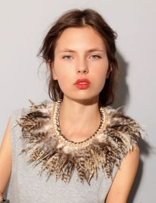 Image result for feather collar dress