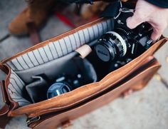 Pack all the gear you need on your next photo shot with the Leather Studio Camera Bag by Johnny Fly Co.