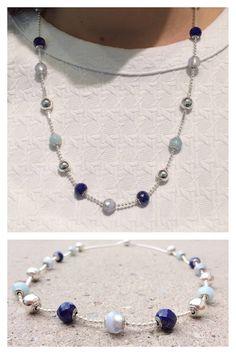 #pandorakenwood designed this beautiful Essence necklace to show of shades of blue