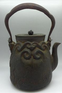 RARE Authentic 16th 17th Century Iron Teapot Signed Mountains Village No Reserve   eBay