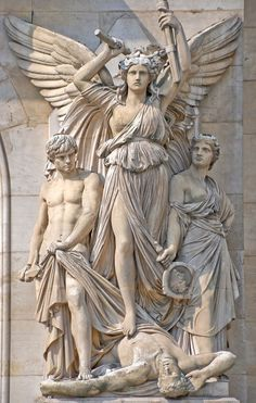 Statue Detail of the Opera Garnier, Opera, Paris, France.