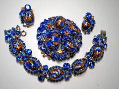 D aka Juliana Blue and Gold Foil Demi Parure   Item No: 15415. $800.00, via Etsy.