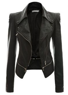 Black Long Sleeve Zipper Closure Jacket - USD $39.59