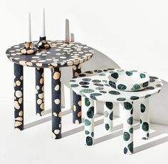 Alberto Bellamoli added to the growing trend for terrazzo at this year's IMM Cologne, unveiling homeware patterned with coloured marble spots.