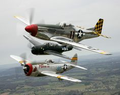 Looks like a P 51 mustang , P 47 Thunderbolt and a Wildcat or a Hellcat