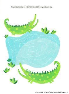 Schrijfpatroon krokodil voor kleuters, free printable