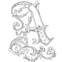 Medieval Alphabet Coloring Pages Middle Ages At For Adults - glum. Alphabet Art, Letter Art, Alphabet Coloring, Graffiti Alphabet, Illuminated Letters, Illuminated Manuscript, Creative Lettering, Hand Lettering, Tattoo Lettering Alphabet