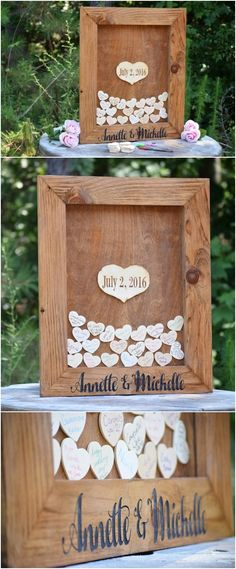 heart drop wooden wedding guest book / http://www.deerpearlflowers.com/rustic-country-wood-wedding-guest-books/
