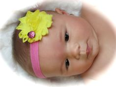 Pink and Yellow Ladybug Flower Headband by BandsForBabes on Etsy, $6.50