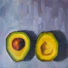 Avocado Still Life Painting - Avocado Halves -