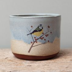Blue and Tan Blue Tit Cup by JuliaSmithCeramics on Etsy