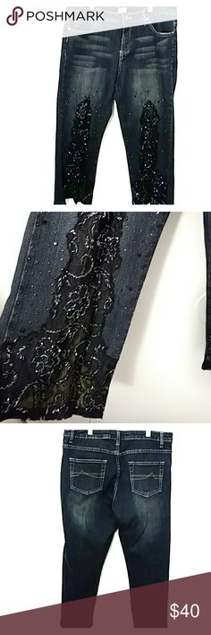 Cache denim embellished ankle jeans Super Cute for girls night out with a black tank & heels, sheer embellished front. Good condition Cache Jeans Ankle & Cropped