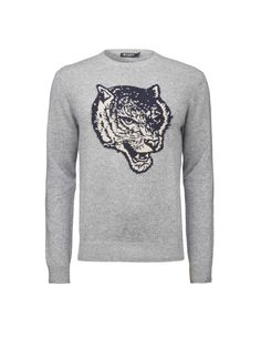 6873297a Men's pullover in wool-blend. Features jacquard-knitted tiger's head at  chest.