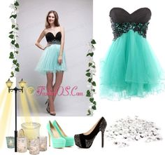 """Black and Apple Green A-Line Sweetheart Mini-length Organza and Chiffon Beading Prom / Homecoming Dress"" by fancydressesforyou on Polyvore"