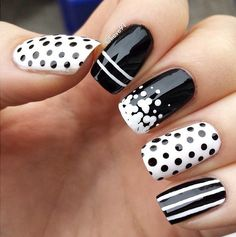 Black and white nail art, spots & stripes