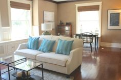No worries. multi-tasking through staging helps buyers imagine all different activities possible. no short cuts taken here! Sofa, Couch, Short Cuts, Staging, Activities, Big, Furniture, Home Decor, Homemade Home Decor