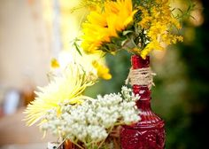 sunflowers with burlap and lace   Sunflowers...lace...rope...burlap   Parties