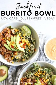 Lighten up with this low carb, gluten free, and vegan jackfruit burrito bowl that will quickly become your new favorite weeknight meal. Vegan Dinners, Healthy Dinner Recipes, Mexican Food Recipes, Whole Food Recipes, Vegetarian Recipes, Vegetarian Mexican, Keto Recipes, Vegetarian Diets, Mexican Cooking