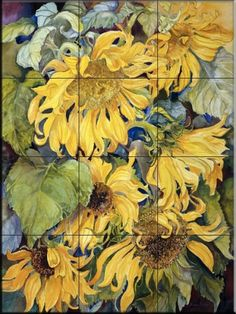 Ceramic Tile Mural - Cascading Sunflowers - by Joanne Porter - Kitchen backsplash / Bathroom shower ** Check out this great product. (This is an affiliate link) Artist Canvas, Canvas Art, Sunflower Canvas, Fill The Frame, Design Basics, Tile Projects, Tile Murals, Plant Pictures, Beautiful Artwork
