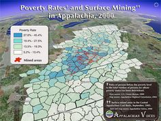 This map shows the startling correlation between poverty and mountaintop removal mining in Appalachia.