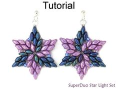 Beading Tutorial Pattern SuperDuo Star Necklace Earrings