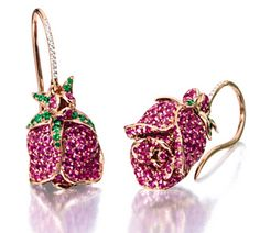 PAIR OF PINK SAPPHIRE, TSAVORITE GARNET AND DIAMOND 'ROSE' EARRINGS, MICHELE DELLA VALLE Each suspending a rose flowerhead, pavé-set with circular-cut pink sapphires altogether weighing approximately 10.00 carats, decorated by tsavorite garnets and diamonds, mounted in 18 karat pink gold, signed MdV.
