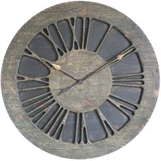 """The """"Classic Rustic"""" is a large handmade Roman Numeral statement wall clock that is designed to be a centrepiece in your lounge or living room. It displays carefully hand carved numerals on the hand painted """"rustic"""" background. Like most wooden products this stunning clock will add warmth and character to your environment"""
