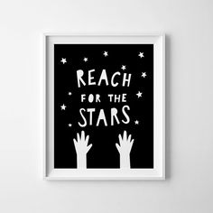 Reach for the stars, Black and white nursery art, printable wall art, nursery print, kids decor, mini learners, typography quote, kids print, Affiche scandinave - High quality PDF and JPEG files - Sizes 8 x10 - Instant download - Colors depicted on your screen may be slightly different from the actual print. PLEASE NOTE: You are purchasing a digital file only. NO PRINTED MATERIALS OR FRAME ARE INCLUDED! The files will be delivered electronically. Within minutes of your order and payment…