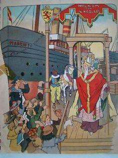 Sint Nicolaas, boekje met 15 platen met tekst van na de oorlog.Met een laterekrantenknipsel uit dec 1976 .