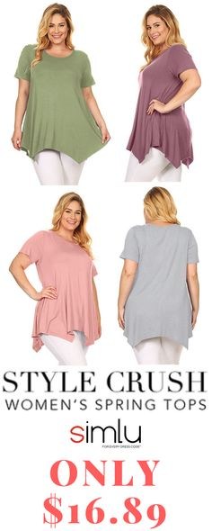 feeeb580eebb2 Simlu Plus Size Short Sleeve Womens Tunic Tops For Leggings -USA