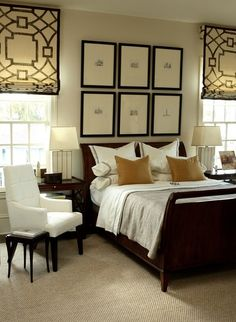 Master Bedroom - Repetition: black frames & blinds with cozy comforts + lots of white for contrast.  Designing out side of the lines.....chic.