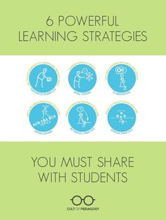 6 Powerful Learning Strategies You MUST Share with Students - And two cognitive psychological scientists, Yana Weinstein and Megan Smith, have made it their mission to teach people how to study better. On their new website, The Learning Scientists, they use infographics and videos to share strategies and other insights about how we learn.