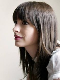Straight Across Bangs... funnny.. currently watching the devil wears prada