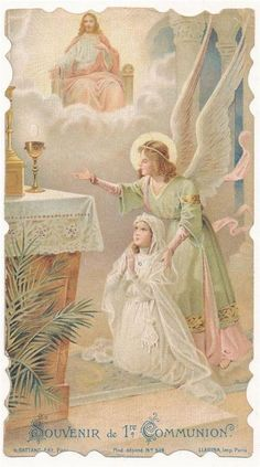 1918 Holy card - Girl and Angel at communion - Catholic religion Catholic Communion, First Holy Communion, Catholic Prayers, Catholic Art, Roman Catholic, Religious Images, Religious Art, Catholic Pictures, Vintage Holy Cards