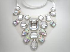 Crystal AB Statement Necklace Floating por SparkleBeastDesign