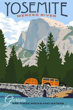 Yosemite, Merced River california vintage travel poster by Steve Thomas