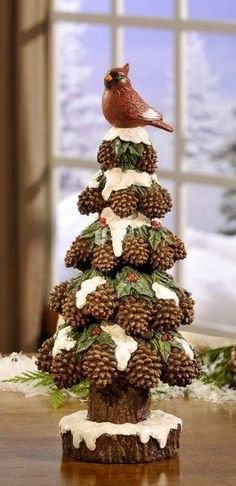 63 New Ideas For Rustic Christmas Tree Decorations Pine Cone Christmas Tree, Christmas Ornaments To Make, Noel Christmas, Country Christmas, Christmas Projects, Holiday Crafts, Christmas Wreaths, Pinecone Ornaments, Christmas Design