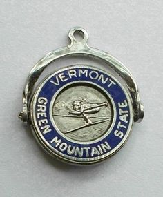 VINTAGE~VERMONT Green Mountain State SPINNER Enamel STERLING SILVER CHARM #Fort
