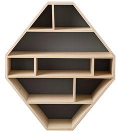 "32.5"" Diamond Shaped Wood Bookcase"