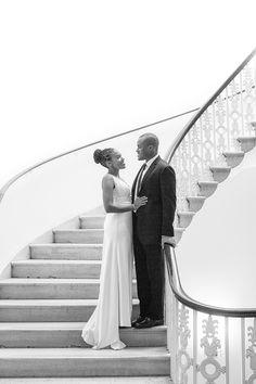 Ilene Squires Photography  #bride #groom #wedding #love #romance #staircase #blackandwhitephotography #photography #portrait