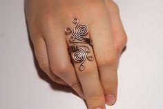 Alambre envuelto anillo, anillo de cobre, cable de cobre hecho a mano de alambre envuelto joyería, joyería de cobre, anillo de boho