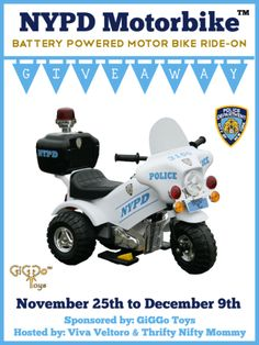 NYPD Motorbike Ride-On Group Giveaway 12/09 - Gator Mommy Reviews